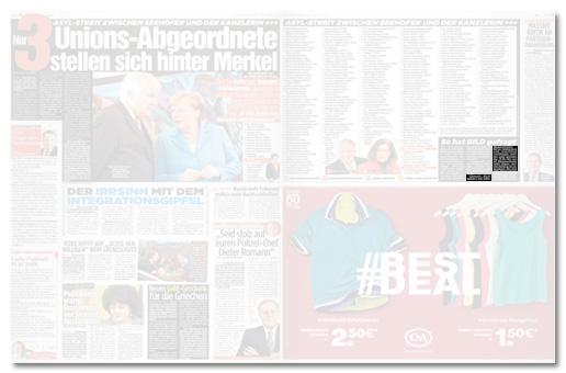 Ausriss Bild-Zeitung - Übersicht der Doppelseite mit dem Artikel zur Bild-Anfrage, dieses Mal mit Hervorhebung des Hinweises