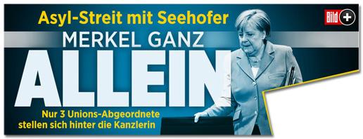 Screenshot Bild.de - Asyl-Streit mit Seehofer - Merkel ganz allein! Nur drei Unions-Abgeordnete stellen sich hinter die Kanzlerin