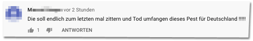 Kommentar auf der Bild-Youtube-Seite - Die soll endlich zum letzten mal zittern und Tod umfangen dieses Pest für Deutschland