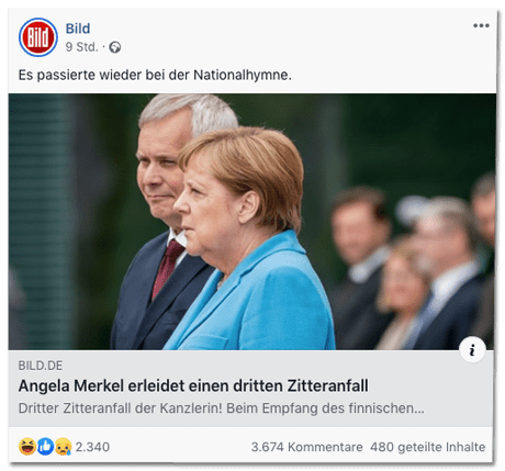 Screenshot eines Facebookposts der Bild-Redaktion - Es passierte wieder bei der Nationalhymne