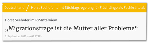 Screenshot RP Online - Horst Seehofer im RP-Interview - Migrationsfrage ist die Mutter aller Probleme