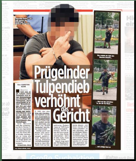 Ausriss Bild-Zeitung - Prügelnder Tulpendieb verhöhnt das Gericht