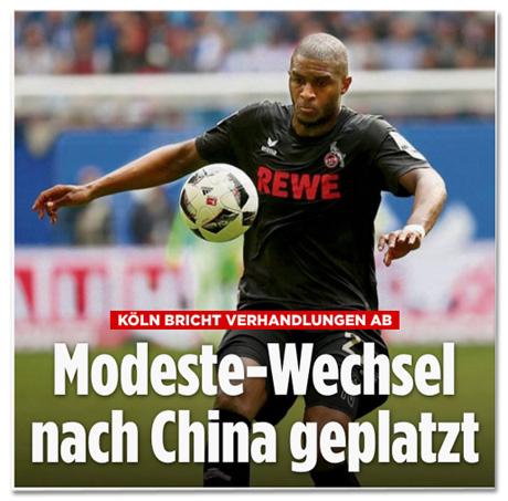 Ausriss Bild.de - Köln bricht Verhandlungen ab - Modeste-Wechsel nach China geplatzt