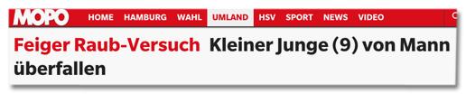 Screenshot Titelzeile mopo.de - Feiger Raub-Versuch - Kleiner Junge (9) von Mann überfallen