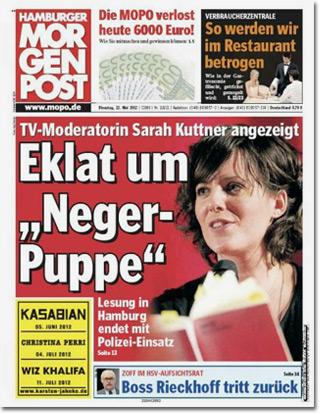 """TV-Moderatorin Sarah Kuttner angezeigt: Eklat um """"Neger-Puppe"""". Lesung in Hamburg endet mit Polizei-Einsatz."""