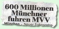 600 Millionen Münchner fuhren MVV