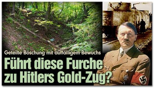 Geteilte Böschung mit auffälligem Bewuchs - Führt diese Furche zu Hitlers Gold-Zug?