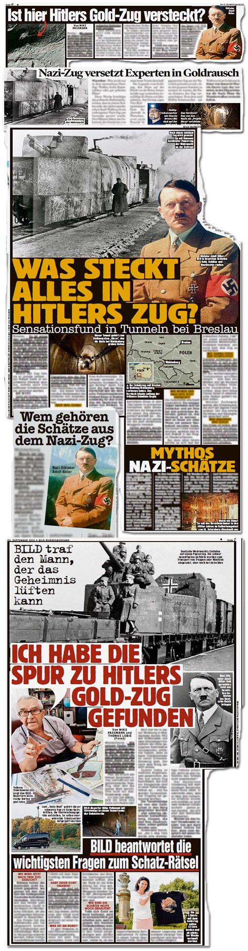 Ist hier Hitlers Gold-Zug-versteckt? - Nazi-Zug versetzt Experten in Goldrausch - Was steckt alles in Hitlers Zug? - Wem gehören die Schätze aus dem Nazi-Zug? - Mythos Nazi-Schätze - Ich habe die Spur zu Hitlers Gold-Zug gefunden - BILD beantwortet die wichtigsten Fragen zum Schatz-Rätsel