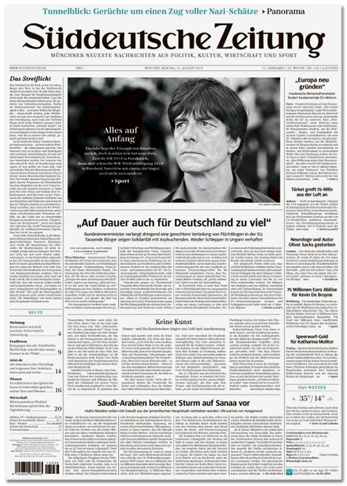 [Titelseite der Süddeutschen Zeitung, ganz oben steht in einer dezenten, grünen Zeile: 'Tunnelblick: Gerüchte um einen Zug voller Nazi-Schätze']