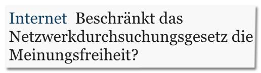 Screenshot Mitteldeutsche Zeitung - Beschränkt das Netzwerkdurchsuchungsgesetz die Meinungsfreiheit?
