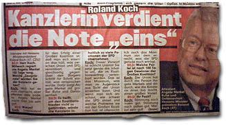 """""""Roland Koch: Kanzlerin verdient die Note eins"""""""