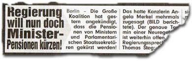 """Regierung will nun doch Minister-Pensionen kürzen!"""