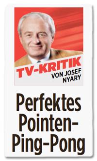 Ausriss Bild-Zeitung - TV-Kritik von Josef Nyary - Perfektes Pointen-Ping-Pong