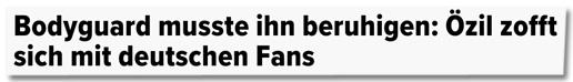 Screenshot Huffington Post - Bodyguard musste ihn beruhigen - Özil zofft sich mit deutschen Fans