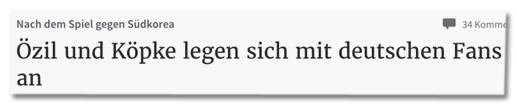 Screenshot Rheinische Post - Nach dem Spiel gegen Südkorea - Özil und Köpke legen sich mit deutschen Fans an