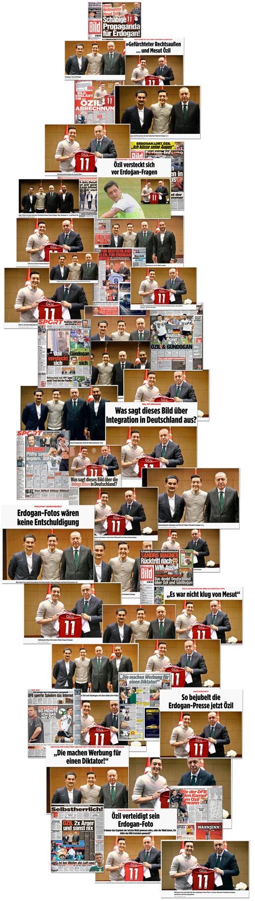 Collage mit 47 verschiedenen Screenshots und Ausrissen von Bild.de, Bild-Zeitung und Bild am Sonntag, die alle die Fotos von Mesut Özil mit dem türkischen Präsidenten Recep Tayyip Erdogan zeigen, manche mit Ilkay Gündogan, manche ohne.