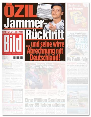 Ausriss der Bild-Titelseite - Özil - Jammer-Rücktritt und seine wirre Abrechnung mit Deutschland
