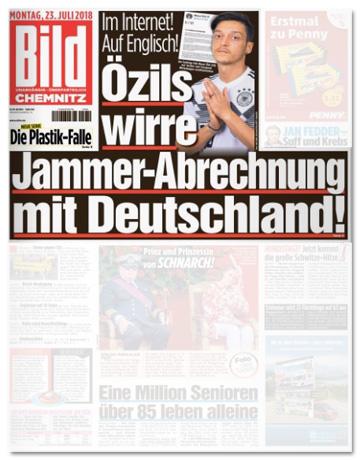 Ausriss der Bild-Titelseite - Im Internet! Auf Englisch! Özils wirre Jammer-Abrechnung mit Deutschland
