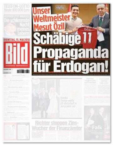 Ausriss der Bild-Titelseite - Unser Weltmeister Mesut Özil - Schäbige Propaganda für Erdogan!