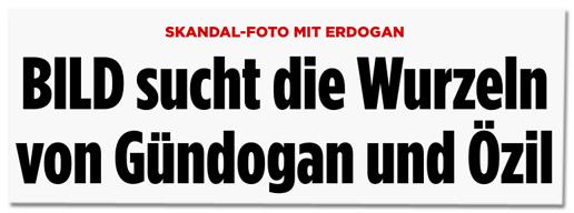 Screenshot Bild.de - Skandal-Foto mit Erdogan - Bild sucht die Wurzeln von Gündogan und Özil