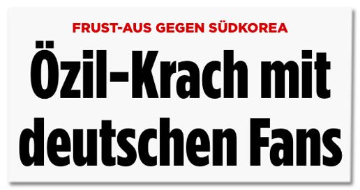 Screenshot Bild.de - Frust-Aus gegen Südkorea - Özil-Krach mit deutschen Fans