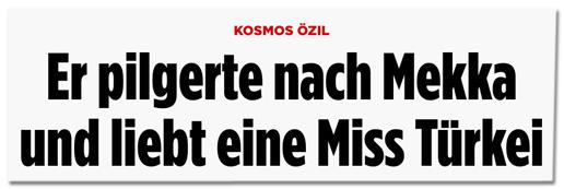 Screenshot Bild.de - Kosmos Özil - Er pilgerte nach Mekka und liebt eine Miss Türkei