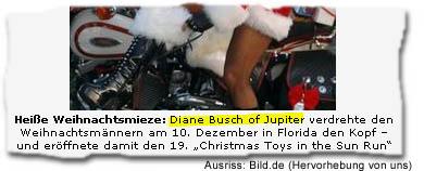"""Heiße Weihnachtsmieze: DIANE BUSCH OF JUPITER verdrehte den Weihnachtsmännern am 10. Dezember in Florida den Kopf – und eröffnete damit den 19. """"Christmas Toys in the Sun Run"""" (Hervorhebung von uns.)"""