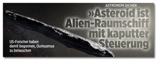 Astronom sicher - »Asteroid ist Alien-Raumschiff mit kaputter Steuerung