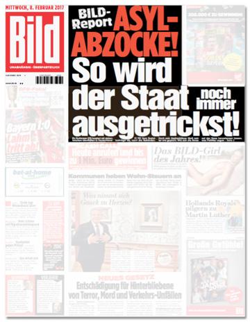 Ausriss Bild-Zeitung - Asyl-Abzocke - So wird der Staat noch immer ausgetrickst!
