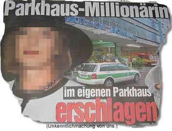 Parkhaus-Millionärin im eigenen Parkhaus erschlagen