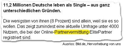 """""""11,2 Millionen Deutsche leben als Single – aus ganz unterschiedlichen Gründen. Die wenigsten von ihnen (8 Prozent) sind allein, weil sie es so wollen. Das zeigt zumindest eine aktuelle Umfrage unter 4000 Nutzern, die bei der Online-Partnervermittlung ElitePartner registriert sind."""""""