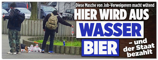 Screenshot Bild.de - Diese Masche von Job-Verweigerern macht wütend - Hier wird aus Wasser Bier und der Staat zahlt