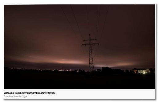 Screenshot Bild.de - Foto, das die Polarlichter über der Frankfurter Skyline zeigen soll, dazu die Bildunterschrift Wahnsinn: Polarlichter über der Frankfurter Skyline