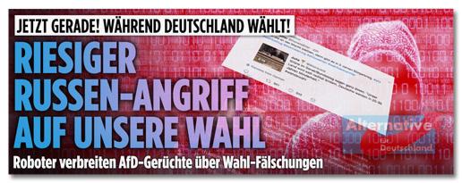 Screenshot von der Bild.de-Startseite - Jetzt gerade! Während Deutschland wählt! Riesiger Russen-Angriff auf unsere Wahl - Roboter verbreiten AfD-Gerüchte über Wahl-Fälschungen