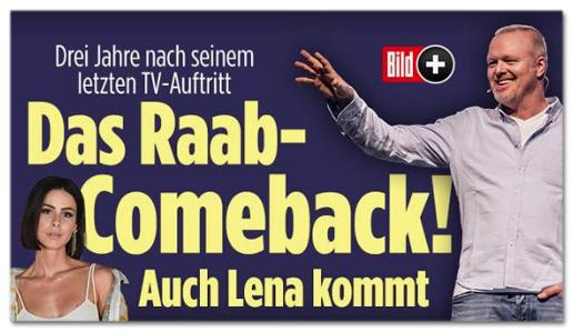 Screenshot Bild.de - Drei Jahre nach seinem letzten TV-Auftritt - Das Raab-Comeback! Auch Lena kommt