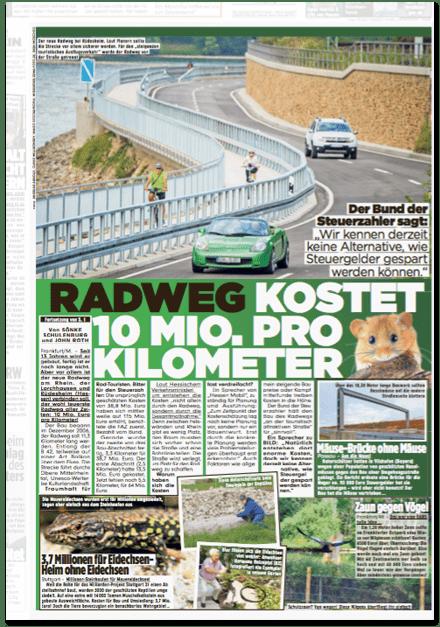 Ausriss Bild-Zeitung - Radweg kostet zehn Millionen Euro pro Kilometer