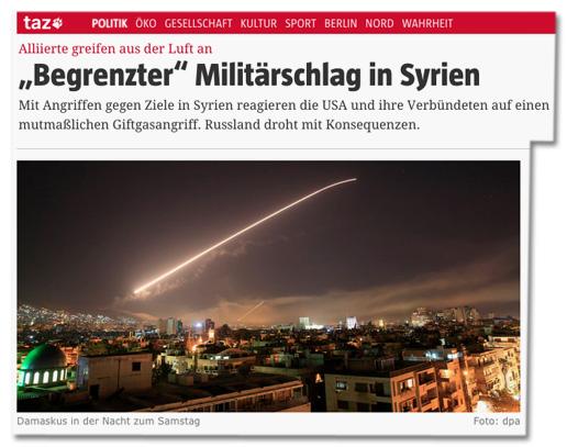 Screenshot taz.de, der die Verwendung des Fotos zeigt