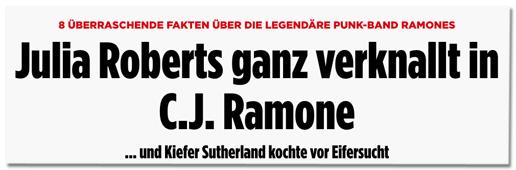 Screenshot Bild.de - 8 überraschende Fakten über die legendäre Punk-Band Ramones - Julia Roberts ganz verknallt in C.J. Ramone - und Kiefer Sutherland kochte vor Eifersucht