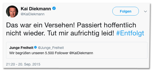 Screenshot eines Tweets von Kai Diekmann - Das war ein Versehen! Passiert hoffentlich nicht wieder. Tut mir aufrichtig leid!