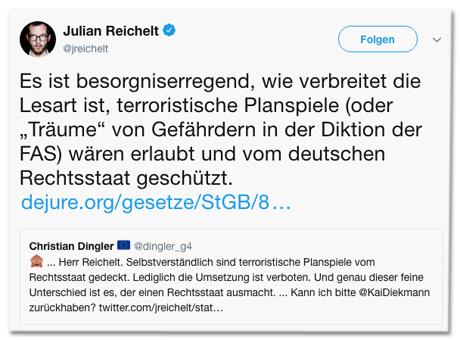 Screenshot eines Tweets von Bild-Chef Julian Reichelt - Es ist besorgniserregend, wie verbreitet die Lesart ist, terroristische Planspiele (oder Träume von Gefährdern in der Diktion der FAS) wären erlaubt und vom deutschen Rechtsstaat geschützt. Dazu ein Link zu Paragraf 89a Strafgesetzbuch