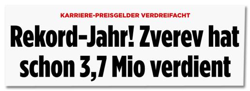 Screenshot Bild.de - Karriere-Preisgelder verdreifacht - Rekord-Jahr! Zverev hat schon 3,7 Mio verdient