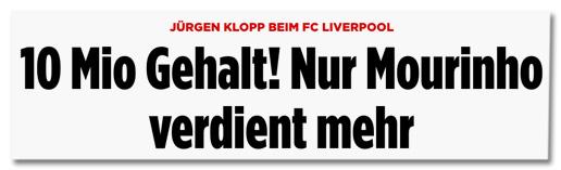 Screenshot Bild.de - Jürgen Klopp beim FC Liverpool - 10 Millionen Gehalt! Nur Mourinho verdient mehr