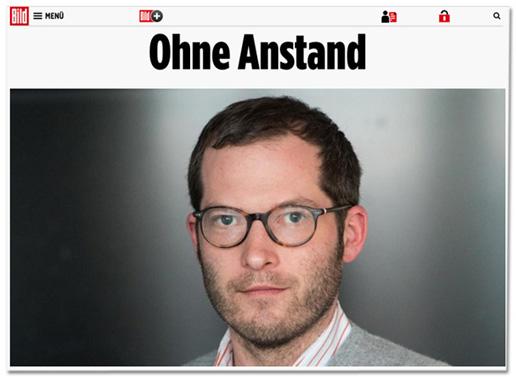 Screenshot des Kommentar des Tages von Bild.de - Überschrift: Ohne Anstand - darunter: ein Foto von Bild-Chefredakteur Julian Reichelt
