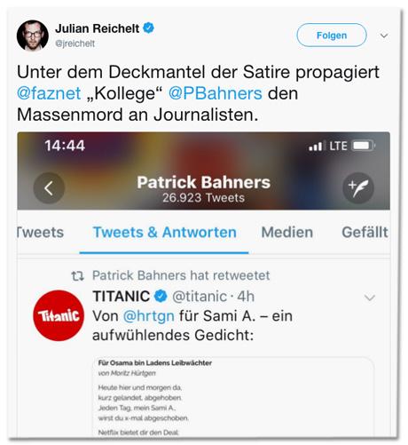 Screenshot eines Tweets von Julian Reichelt - Unter dem Deckmantel der Satire propagiert FAZ-Kollege Patrick Bahners den Massenmord an Journalisten.