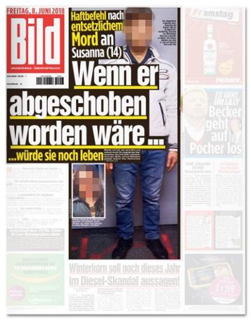 Ausriss Bild-Zeitung - Haftbefehl nach entsetzlichem Mord - Wenn er abgeschoben worden wäre, würde sie noch leben