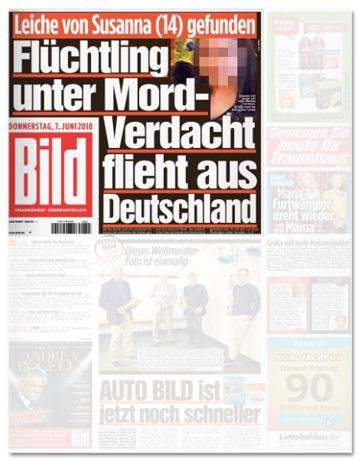 Ausriss Bild-Zeitung - Leiche gefunden - Flüchtling unter Mordverdacht flieht aus Deutschland