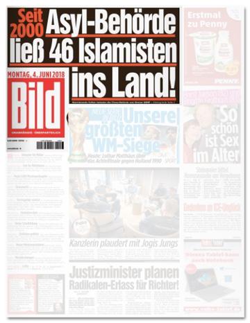 Ausriss Bild-Zeitung - Seit 2000 - Asyl-Behörde ließ 46 Islamisten ins Land