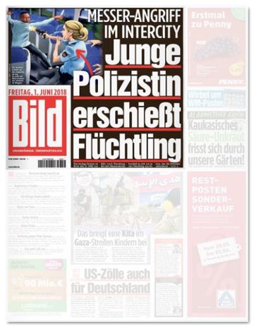 Ausriss Bild-Zeitung - Messer-Angriff im Intercity - Junge Polzistin erschießt Flüchtling