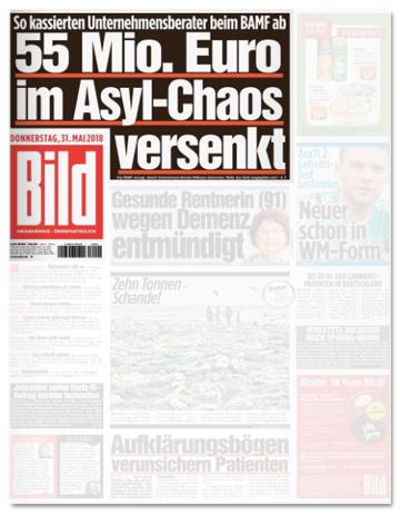 Ausriss Bild-Zeitung - 55 Millionen Euro im Asyl-Chaos versenkt