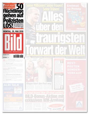 Ausriss Bild-Zeitung - 50 Flüchtlinge gehen auf Polizisten los